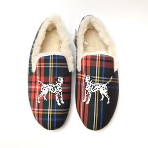 J Crew Plaid Dalmatian Faux Fur Slippers FLAW